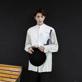 長袖襯衫-條紋韓版時尚拼接燙圖男上衣73po30【巴黎精品】