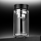 水杯 夏季雙層玻璃男商務過濾水杯泡茶杯便攜加厚透明喝水杯子