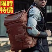 後背包-韓版復古簡約風潮流實用大容量皮革男女雙肩包2色66m7[巴黎精品]