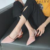 半拖涼鞋尖頭淺口高跟鞋女夏季新款韓版百搭條紋半拖鞋粗跟外穿涼鞋子 喵小姐