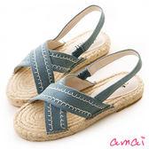 amai寬版X字俏皮縫線草編涼鞋 牛仔藍