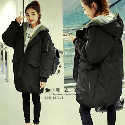 【QV1454】魔衣子-保暖寬鬆連帽拉鍊中長款羽絨棉外套