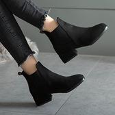 短靴女春秋季單靴2021年新款黑色絨面百搭粗跟彈力網紅瘦瘦靴秋冬 夏季新品