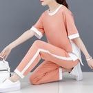休閒運動套裝女2021夏季新款時尚韓版寬鬆闊腳褲運動服大碼兩件套