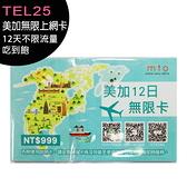 【綠色卡】TEL25 美加無限上網卡-12天不限流量吃到飽 ((此卡支援分享))