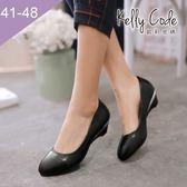 大尺碼女鞋-凱莉密碼-小清新百搭工作鞋好穿楔型低跟鞋3.5cm(41-48)【QZ810-1】黑色