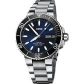 Oris豪利時 Aquis 大視窗日曆500米潛水機械錶-藍x銀/45.5mm 0175277334135-0782405PEB