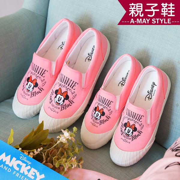 迪士尼聯名親子鞋-MIT米妮印花帆布休閒懶人鞋