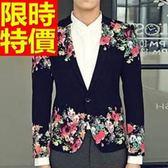 西裝外套  男韓版 西服 灑脫別緻-合身剪裁美式風金絲絨個性65b33【巴黎精品】