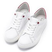 2.Maa 時尚寶石牛皮綁帶小白鞋 - 紅白