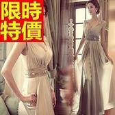 晚宴服-簡單精緻修身雙肩深V領長款女晚禮服2色65c19【巴黎精品】