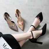 高跟涼鞋 歐美新款鞋粗顯瘦一字扣尖頭女鞋中空涼女單鞋《小師妹》sm2116