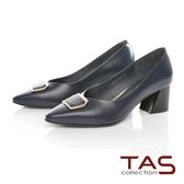 TAS方形金屬飾釦拼接粗跟鞋-深海藍
