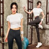 正韓春夏健身房瑜伽服女新款運動短袖T恤緊身褲跑步兩件套裝女【寶貝開學季】