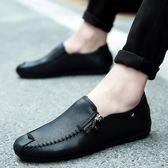新款豆豆鞋男士休閒皮鞋潮鞋懶人個性百搭韓版一腳蹬男鞋   蓓娜衣都