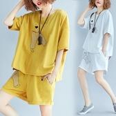 中大尺碼 女裝 夏裝遮肉顯瘦女套裝新款韓版休閒夏季百搭洋裝 兩件套