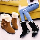 冬季新款韓版雪地靴女鞋短筒加絨保暖平底平跟學生靴子女棉鞋 Korea時尚記