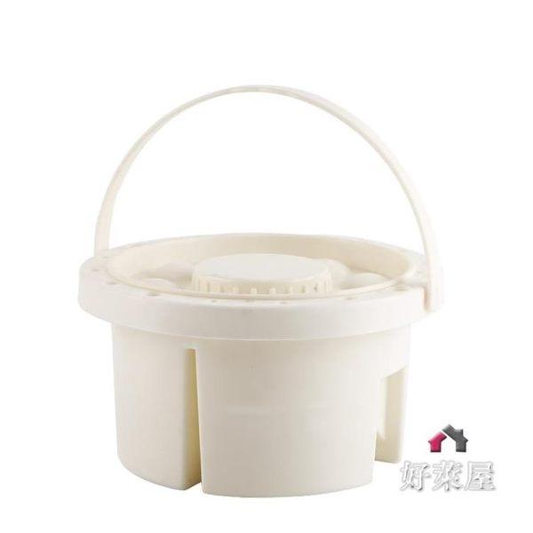 DIY手提式水桶 調色筒水粉水彩顏料調色盒 多用洗筆桶(圓形)塗鴉工具 交換禮物