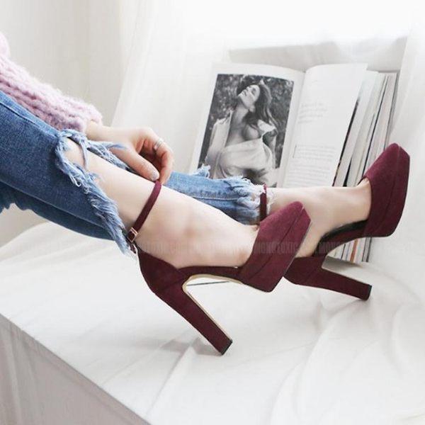 韓版秋季新款裸色尖頭防水台高跟鞋粗跟一字扣百搭單鞋女鞋  卡布奇諾