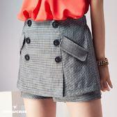【SHOWCASE】氣質排釦千鳥格仿窄裙短褲裙(黑)