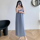 法式小眾寬鬆雪紡吊帶連身裙女夏季2021新款小個子休閒背心長裙子 快速出貨