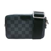 【Louis Vuitton】ALPHA Damier 帆布拉鍊隨身斜背包(N60418-黑灰)