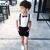 男童夏季演出禮服 兒童襯衫背帶短褲兩件套 花童小禮服男孩演出服(快速出貨)