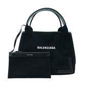 【台中米蘭站】全新品 Balenciaga NAVY Cabas S 帆布拚牛皮手提托特包(339933-黑)