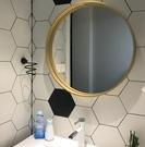 北歐浴室鏡黃銅金色圓鏡壁掛衛浴洗手間衛生間壁鏡懸掛裝飾鏡【60公分】