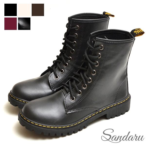 MIT馬丁靴 高質感個性綁帶短靴-黑