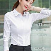 中大尺碼長襯衫 女式職業襯衫長袖白色黑色基礎款打底襯衣修身高彈面料有彈性工裝 coco衣巷