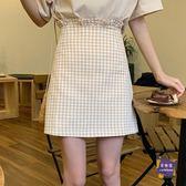 短裙 2019新款夏天韓版荷葉邊裙子格子百搭半身裙高腰顯瘦女A字裙短裙 2色S-L