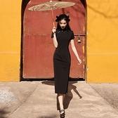 旗袍 旗袍年新款女夏季黑色高端高貴年輕款少女日常復古改良洋裝