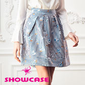 【SHOWCASE】俏麗直條相機印花百褶短裙(藍)