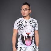 3D動物老虎頭印花短袖T恤立體圖案半袖男老虎體恤半截袖大碼上衣 星河光年