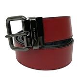 【COACH】針釦C LOGO牛皮寬版男款中性皮帶禮盒(紅/黑灰)