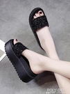 網紅拖鞋女士外穿2021新款ins潮夏季百搭時尚鬆糕厚底增高跟涼拖 夏季狂歡