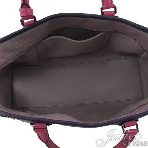 茱麗葉精品 二手精品【9.5成新】 LOEWE AMAZONA 經典LOGO 撞色皮革手提包.紫/粉 (附鎖頭)