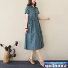 大碼棉麻洋裝 春季文藝棉麻短袖連身裙收腰...