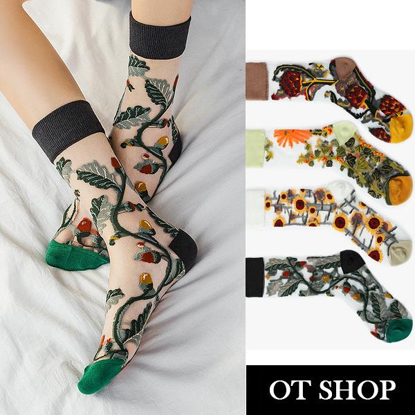 OT SHOP [現貨]襪子 透膚絲襪 中筒襪 大地風格刺繡圖案 潮流個性 日韓系穿搭 M1078