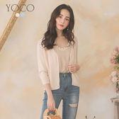東京著衣【YOCO】YOCO-氣質優雅排扣坑條紋小外套(190522)