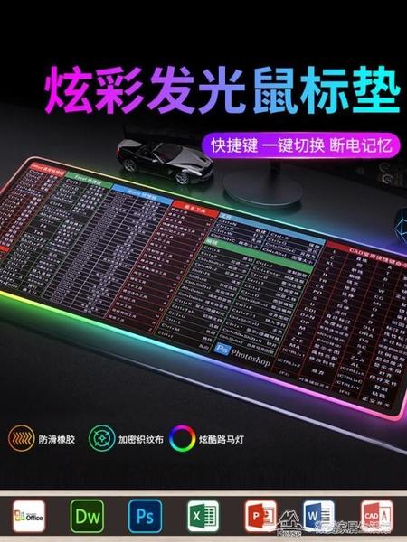 滑鼠墊 電競發光滑鼠墊超大游戲帶燈幻彩RGB鍵盤桌墊快捷鍵【快速出貨】