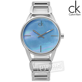 CK / K3G2312N / 迷人優美光環珍珠母貝不鏽鋼手錶 藍色 33mm