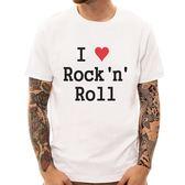 I Love Rock n Roll短袖T恤-白色 現貨 我愛搖滾樂文字設計潮流T恤情侶T 美國棉 390 gildan