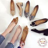 2018早春新款黑色高跟鞋中低跟單鞋女尖頭粗跟5cm高跟鞋中跟女鞋 全館免運