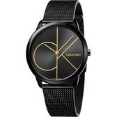 Calvin Klein CK Minimal 經典大LOGO腕錶-黑/40mm K3M214X1