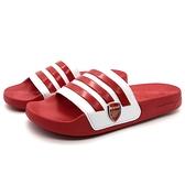 《7+1童鞋》ADIDAS EG1212 ADILETTE 輕量 防水 止滑 運動拖鞋 7418 紅色