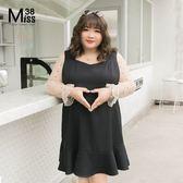 Miss38-(現貨)【A12197】大尺碼雪紡洋裝 假兩件網紗拼接長袖 性感透膚 連身裙-中大尺碼女裝