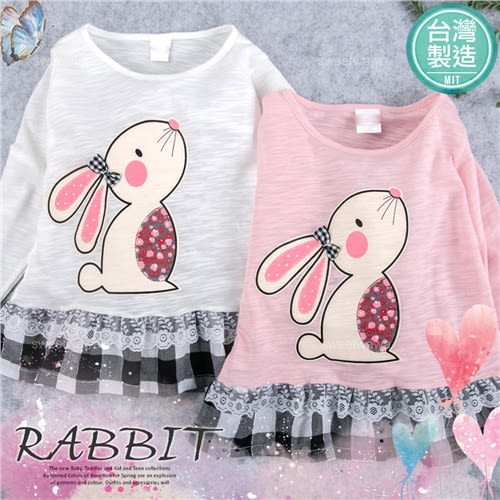 台灣製~花朵兔接格紋薄棉長袖上衣-2色(280090)★水娃娃時尚童裝★