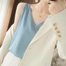 真絲小吊帶背心女V領西裝內搭打底醋酸緞面無袖外穿寬鬆上衣ins潮 蘿莉新品